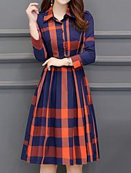 cheap -Women's Orange Green Dress Casual Fall Daily Sheath Check Shirt Collar M L