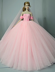 cheap -Doll Dress Wedding For Barbiedoll Pink Cotton Blend For Girl's Doll Toy