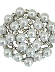 cheap -Women's Brooches Classic Hollow Out Flower Ladies Stylish Classic Imitation Pearl Rhinestone Brooch Jewelry Silver For Daily Cosplay Costumes
