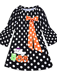 cheap -Baby Girls' Active / Basic Holiday Polka Dot / Halloween Lace Long Sleeve Above Knee Cotton Dress Black / Toddler