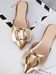 cheap -Women's Clogs & Mules Flat Heel Closed Toe PU Comfort Spring / Summer Black / Gold / Burgundy