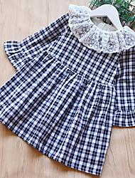 cheap -Kids Toddler Girls' Basic Check Long Sleeve Dress Black