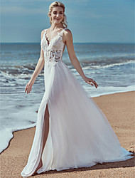 cheap -A-Line V Neck Sweep / Brush Train Lace / Tulle Regular Straps Beautiful Back Made-To-Measure Wedding Dresses with Lace 2020