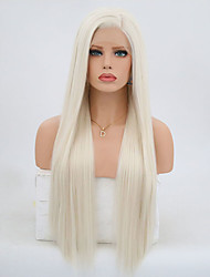 cheap -Synthetic Lace Front Wig Body Wave Kardashian Side Part Lace Front Wig Blonde Long Platinum Blonde Synthetic Hair 24 inch Women's Adjustable Heat Resistant Blonde Gray