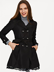 cheap -Women's Daily Fall Regular Trench Coat, Solid Colored Peaked Lapel Long Sleeve Cotton Lace Light Blue / Army Green / Khaki