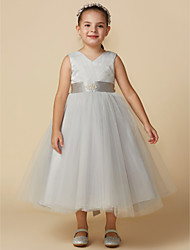 cheap -Ball Gown Tea Length Flower Girl Dress - Tulle Sleeveless V Neck with Crystals