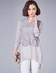 cheap -Women's Daily Street chic Slim Shirt - Solid Colored Lace / Lace Trims V Neck Black