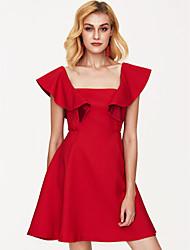 cheap -Women's Party Birthday Slim A Line Dress High Waist Square Neck Wine S M L / Sexy
