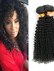 cheap -3 Bundles Mongolian Hair Kinky Curly Human Hair Unprocessed Human Hair Natural Color Hair Weaves / Hair Bulk Hair Care Bundle Hair 8-28 inch Natural Color Human Hair Weaves Life Smooth Thick Human