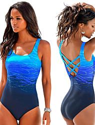 cheap -Women's Back Cross One Piece Swimsuit Gradient Color Padded Bodysuit Swimwear Blue Purple Fuchsia Chlorine resistance Lightweight Quick Dry Sleeveless - Swimming Surfing Summer Fall / Spandex / Nylon