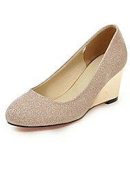 cheap -Women's Heels Pumps Wedge Heel Round Toe PU(Polyurethane) Spring &  Fall Gold / Black / Silver / Daily