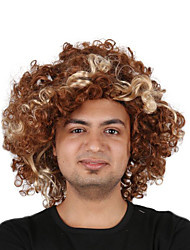 cheap -Synthetic Wig Cosplay Wig Curly Bob Wig Short Golden Brown Synthetic Hair 14 inch Men's Fashionable Design Cosplay curling Brown