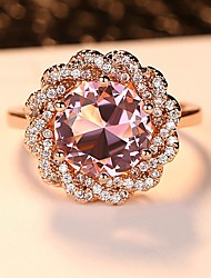 cheap -Women's Band Ring Engagement Ring Cubic Zirconia 1pc Rose Gold Silver Sterling Silver Titanium Square Elegant Vintage Wedding Ceremony Jewelry Layered Vintage Style Cute