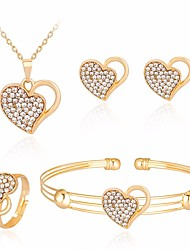 cheap -Women's AAA Cubic Zirconia Bracelet Bangles Necklace Earrings Hollow Out Mismatched Heart Hollow Heart Ladies Simple Casual / Sporty Sweet Earrings Jewelry Gold For Wedding Daily Masquerade