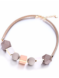 cheap -Women's Necklace Braided Beads Creative Ball Ladies Stylish Geometric Sweet Basketwork Resin Alloy Black Gray Pink 40 cm Necklace Jewelry 1pc For Daily Going out