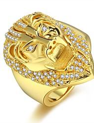 cheap -Men's Ring Cubic Zirconia 1pc Gold Copper Hip-Hop Carnival Street Jewelry Cuban Link Lion