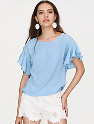 cheap -Women's Daily Going out Basic / Street chic Puff Sleeve Loose Blouse - Solid Colored Dusty Rose, Ruffle Black / Summer