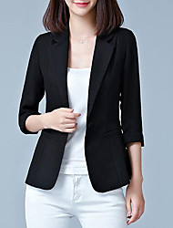 cheap -Women's Going out Regular Blazer, Solid Colored Peter Pan Collar 3/4 Length Sleeve Polyester Black / Blushing Pink / Fuchsia