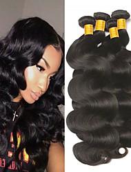 Недорогие -4 Связки Индийские волосы Естественные кудри Натуральные волосы Необработанные натуральные волосы Человека ткет Волосы One Pack Solution Накладки из натуральных волос 8-28 дюймовый Естественный цвет