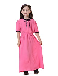 cheap -Kids Girls' Vintage Active Sweet Party Daily Holiday Solid Colored Short Sleeve Midi Dress Light Green