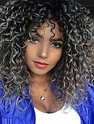cheap -Synthetic Wig Curly Middle Part Wig Medium Length Black / Grey Synthetic Hair 18 inch Women's Ombre Hair Middle Part For Black Women Gray