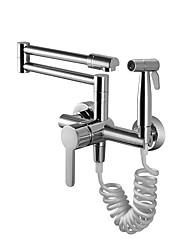 cheap -Kitchen faucet - Two Handles Two Holes Chrome Standard Spout / Pot Filler Deck Mounted Contemporary Kitchen Taps