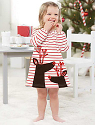 cheap -Kids Toddler Girls' Vintage Sweet Christmas Holiday School Striped Christmas Short Sleeve Above Knee Dress Red