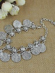 cheap -Women's Chain Bracelet Pendant Bracelet Stylish Coin Flower Shape Ladies Stylish Romantic Boho Alloy Bracelet Jewelry Silver For Daily Date