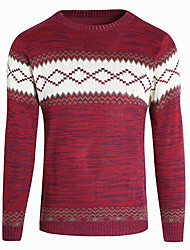 cheap -Men's Christmas / Daily Basic Geometric Long Sleeve Regular Pullover Sweater Jumper, Round Neck Black / White / Red M / L / XL