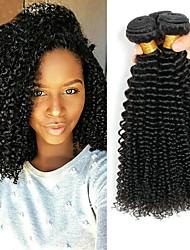 cheap -3 Bundles Peruvian Hair Kinky Curly Human Hair Unprocessed Human Hair Natural Color Hair Weaves / Hair Bulk Hair Care Bundle Hair 8-28 inch Natural Color Human Hair Weaves Smooth Classic Thick Human