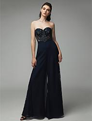 cheap -Jumpsuits Sweetheart Neckline Floor Length Chiffon Chic & Modern / Elegant Prom / Formal Evening Dress with Beading 2020