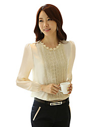 cheap -Women's Work Street chic Shirt - Solid Colored Lace / Beaded / Cut Out White / Sexy