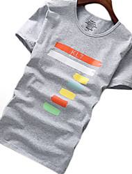 cheap -Men's Daily Basic T-shirt - Solid Colored / Geometric Round Neck Black / Short Sleeve