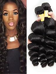 Недорогие -4 Связки Перуанские волосы Свободные волны Натуральные волосы Необработанные натуральные волосы 200 g Человека ткет Волосы Удлинитель Пучок волос 8-28 дюймовый Черный Естественный цвет / 8A