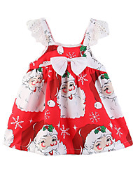 cheap -Kids Girls' Active Sweet Party Holiday Cartoon Snowflake Bow Print Lace Trims Short Sleeve Above Knee Dress Red