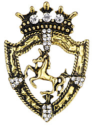 cheap -Men's Cubic Zirconia Brooches Vintage Style Stylish Horse Creative Vintage Fashion Ancient Rome Brooch Jewelry Gold Silver For Party Daily