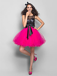cheap -A-Line Jewel Neck Short / Mini Tulle / Sequined Cute / Color Block / Beaded & Sequin Cocktail Party / Homecoming Dress 2020 with Beading / Sequin