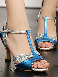 cheap -Women's Latin Shoes Synthetics Heel Slim High Heel Dance Shoes Blue / Performance / Leather / Practice