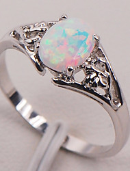 cheap -Women's Ring Synthetic Opal Moonstone 1pc Rainbow Stone S925 Sterling Silver Round irregular Ladies Stylish Natural Gift Going out Jewelry Stylish Solitaire Flower Shape Pear