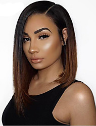 cheap -Virgin Human Hair 360 Frontal Wig Bob Deep Parting Side Part Rihanna style Brazilian Hair Straight Brown Wig 150% Density with Baby Hair Women Sexy Lady Color Gradient Women's Medium Length Human