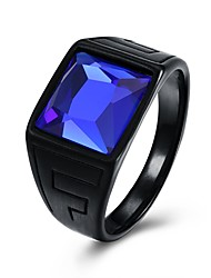 cheap -Men's Band Ring Signet Ring Sapphire 1pc Blue Glass Steel Stainless Circle Geometric Vintage Punk Daily Street Jewelry Vintage Style 3D Emerald Cut Creative Cool