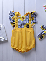 cheap -2pcs Baby Girls' Active / Street chic Daily Floral Stylish / Print Sleeveless Cotton Bodysuit Yellow