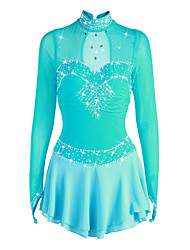 cheap -21Grams Figure Skating Dress Women's Girls' Ice Skating Dress Pale Blue Spandex High Elasticity Competition Skating Wear Handmade Rhinestone Long Sleeve Ice Skating Figure Skating