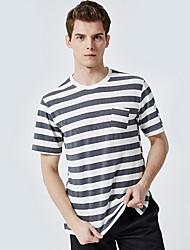 cheap -Men's Daily Basic T-shirt - Striped Round Neck Black / Short Sleeve