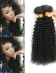 cheap -3 Bundles Indian Hair Kinky Curly Human Hair Unprocessed Human Hair Natural Color Hair Weaves / Hair Bulk Hair Care Bundle Hair 8-28 inch Natural Color Human Hair Weaves Smooth Classic Thick Human