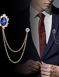 cheap -Men's Cubic Zirconia Brooches Stylish Link / Chain Creative Statement Fashion British Brooch Jewelry Black Royal Blue For Party Daily