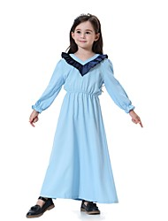 cheap -Kids Girls' Vintage Active Sweet Daily Holiday Going out Solid Colored Long Sleeve Midi Dress Black