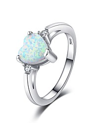 cheap -Women's Ring Opal Moonstone 1pc Silver Resin Copper Platinum Plated Ladies Elegant Romantic Date Valentine Jewelry Stylish Heart Love Heart / Imitation Diamond