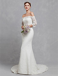 cheap -Mermaid / Trumpet Wedding Dresses Off Shoulder Court Train Lace 3/4 Length Sleeve Cutouts with Lace 2020