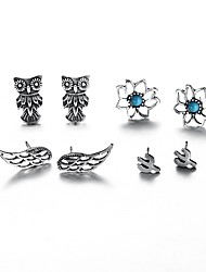 cheap -Women's Stud Earrings Classic Hollow Out Flower Ladies Sweet Fashion Rhinestone Earrings Jewelry Silver For School Office & Career 4 Pairs